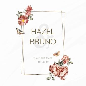 Kwiatowy wesele zaproszenie makieta wektor