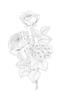 Kwiatowy wianek z hortensji i róży na białym tle.
