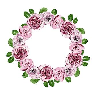 Kwiatowy wieniec akwarelowy z liliowymi różami i zielonymi liśćmi