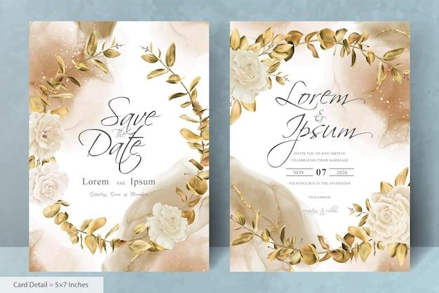 Kwiatowy wieniec szablon karty zaproszenia ślubne z ręcznie rysowanymi kwiatami i liśćmi eukaliptusa