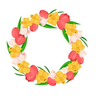 Kwiatowy wieniec wielkanocny lub rama wiosennych kwiatów z tulipanem, żonkilem, zielonymi liśćmi -