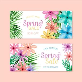 Kwiatowy wiosenna wyprzedaż akwarela transparent