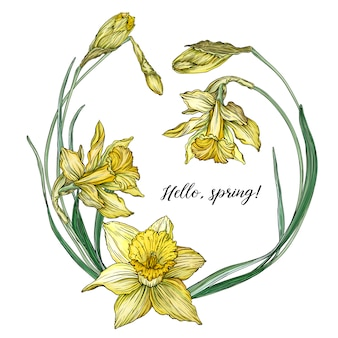 Kwiatowy wiosenny okrągły rama