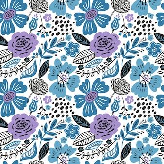 Kwiatowy wzór białe kolory zima. płaskie kwiaty, płatki, liście i doodle.