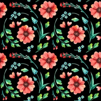 Kwiatowy wzór, botaniczna akwarela. wiosenne liście i kwiaty wyciągnąć rękę