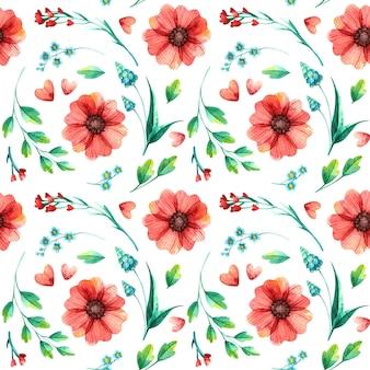 Kwiatowy wzór, botaniczna akwarela.