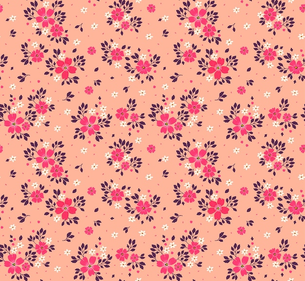 Kwiatowy wzór dla. małe różowe kwiaty. koralowe tło. szablon do druku mody