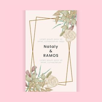 Kwiatowy wzór karty ślubnej w stylu akwareli