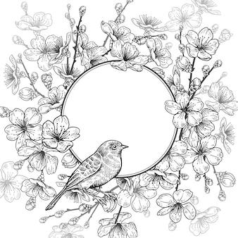 Kwiatowy wzór karty z japońską wiśnią i ptakiem.