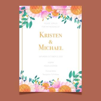 Kwiatowy wzór na zaproszenie na ślub