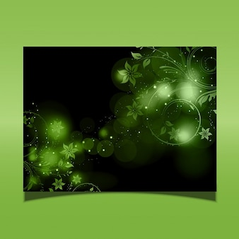 Kwiatowy wzór na zielonym tle światła świecące