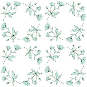Kwiatowy wzór. piękna botaniczna powtarzalna tekstura z gałęziami, liśćmi i kwiatami do nadruku, tkaniny, tkaniny, tapety w delikatnych kolorach. ręcznie rysowane tuszem ilustracja w stylu sztuki linii.