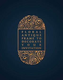 Kwiatowy wzór ramki na kartki z życzeniami walentynkowe zaproszenia