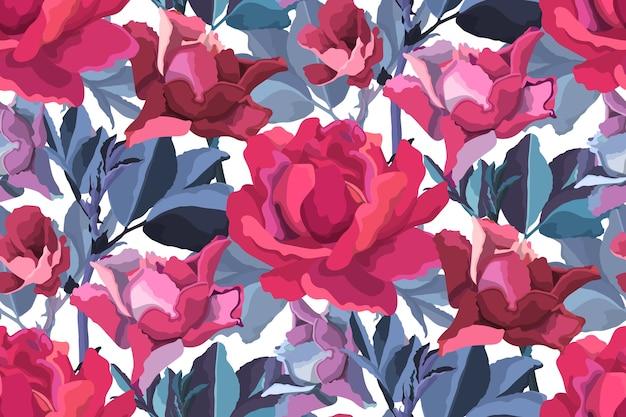 Kwiatowy wzór. różowe, bordowe, bordowe, fioletowe róże ogrodowe, niebieskie gałęzie z liśćmi na białym tle.