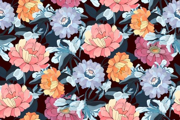 Kwiatowy wzór. różowe, pomarańczowe, niebieskie cynie, piwonie, granatowe liście. kwiaty ogrodowe na białym tle