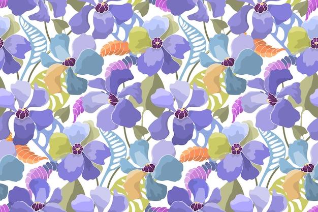 Kwiatowy wzór. streszczenie kolorowe kwiaty i liście w stylu przypominającym akwarele.
