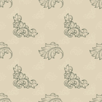 Kwiatowy wzór. tło niekończące się, element powtarzania, flora liści, liść baroku i krzywej, ilustracja wektorowa
