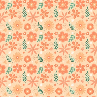 Kwiatowy wzór w brzoskwiniowych odcieniach