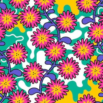 Kwiatowy wzór w stylu retro hippie