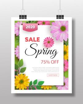 Kwiatowy wzór wiosny z transparentem kwiat kwitnąć