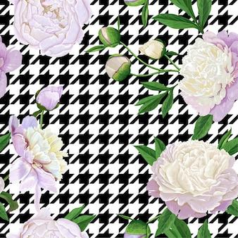 Kwiatowy wzór z białymi piwonie. wiosna kwitnące kwiaty tło dla tkaniny, wydruki, dekoracje ślubne, zaproszenia, tapety, papier do pakowania. ilustracja wektorowa