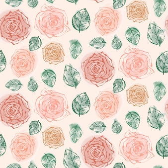 Kwiatowy wzór z delikatnymi pomarańczowymi różami i liśćmi