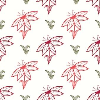 Kwiatowy wzór z elementami liści wyciągnąć rękę w stylu etnicznym.