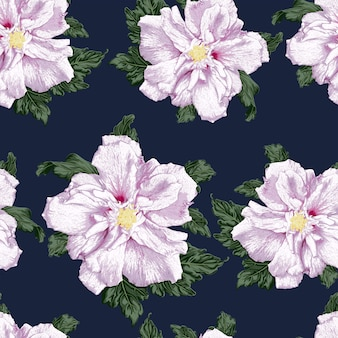 Kwiatowy wzór z fioletowym tłem hibiskusa.