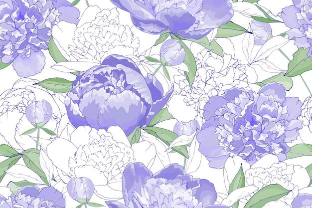 Kwiatowy wzór z fioletowymi kwiatami piwonie.