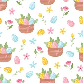 Kwiatowy wzór z jajami, ptakami i stylizowanymi kwiatami niekończąca się tekstura do wiosennego projektu