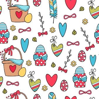 Kwiatowy wzór z jajkami, sercami i stylizowanymi kwiatami. niekończące się tekstury do projektowania wiosny, dekoracji, kartek okolicznościowych, plakatów, zaproszeń, reklam.