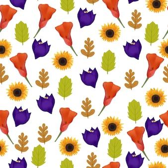 Kwiatowy wzór z jesienne kwiaty