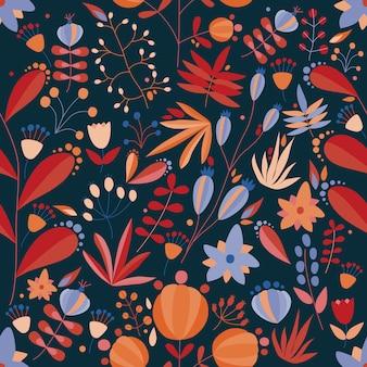 Kwiatowy wzór z kwiatami i roślinami w ciemnym tle