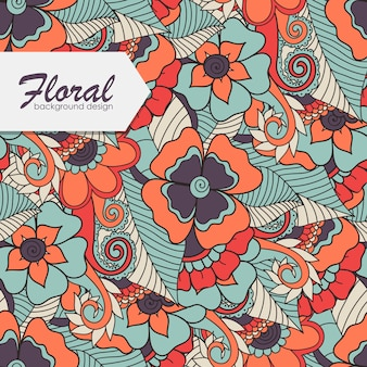 Kwiatowy wzór z kwiatem zentangle.
