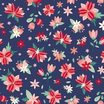 Kwiatowy wzór z kwiatów i liści