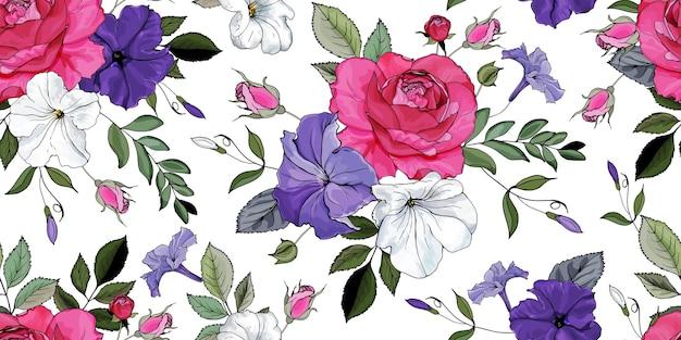 Kwiatowy wzór z kwiatów róż, petunie.