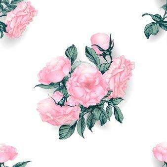 Kwiatowy wzór z kwitnących gałęzi róży. ilustracja wektorowa