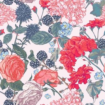 Kwiatowy wzór z kwitnących róż