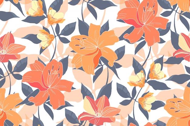 Kwiatowy wzór z liliami i powojnikami.