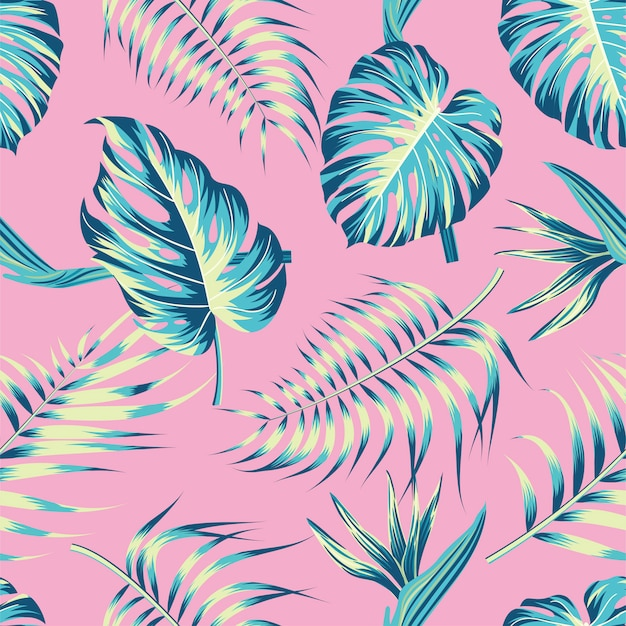 Kwiatowy wzór z liści. tropikalny tło
