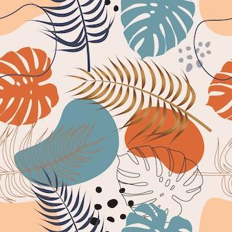 Kwiatowy wzór z liśćmi tropikalnym tle