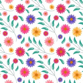 Kwiatowy wzór z liśćmi