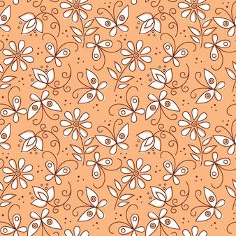 Kwiatowy wzór z motylami