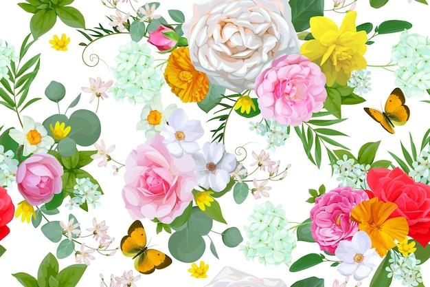 Kwiatowy wzór z motylem