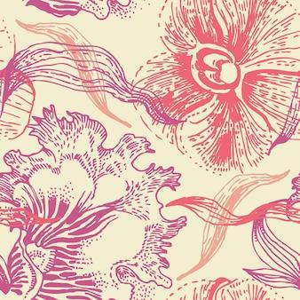 Kwiatowy wzór z orchideą