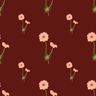 Kwiatowy wzór z ornamentem oddziałów różowy anemon proste. ciemny bordowy tło. minimalistyczny nadruk. ilustracji. projekt wektor dla tekstyliów, tkanin, prezentów, tapet.