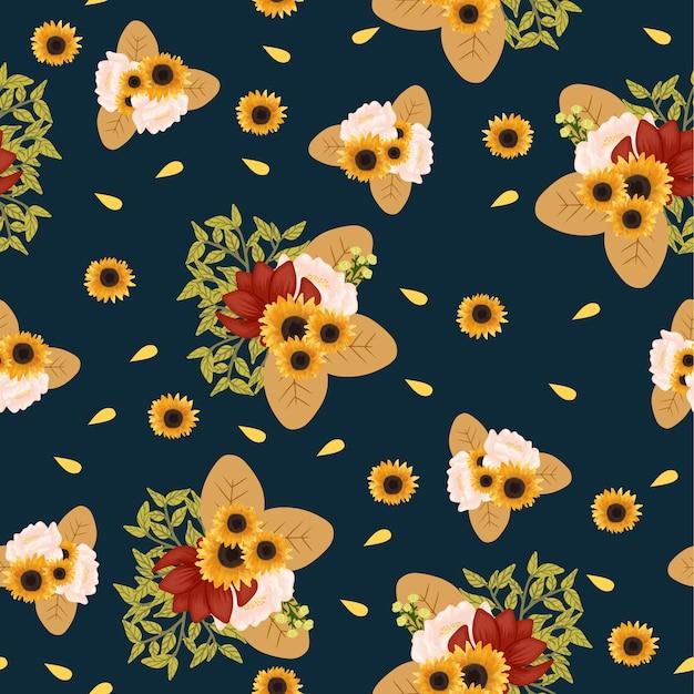 Kwiatowy wzór z piękny bukiet kwiatów