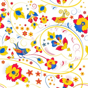Kwiatowy wzór z ptakami