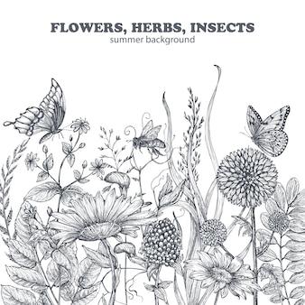 Kwiatowy wzór z ręcznie rysowane kwiaty i liście maku. ilustracja wektorowa monochromatyczne w stylu szkicu.