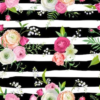 Kwiatowy wzór z różowe kwiaty i lilia. tło botaniczne dla tkanin tekstylnych, tapet, papieru do pakowania i wystroju. ilustracja wektorowa